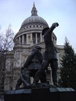 In front of St. Paul's Cathedral - A monument to the heroism of the London firemen during the Blitz.