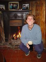 At Biddy Early in front of a peat fire. A tradition. The first picture of the trip is always of Merideth with her first pint.